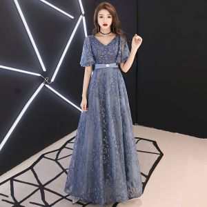 Elegant Pool Blue Evening Dresses  2019 A-Line / Princess V-Neck Rhinestone Lace Flower Sash Short Sleeve Backless Floor-Length / Long Formal Dresses