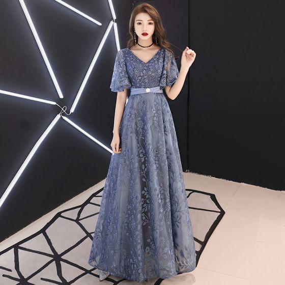 42ccd6bb423 elegant-pool-blue-evening-dresses-2019-a-line-princess-v-neck -rhinestone-lace-flower-sash-short-sleeve-backless-floor-length-long-formal- dresses-560x560.jpg