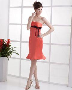 Elegant Strapless Knielangen Taft Abend Partykleid