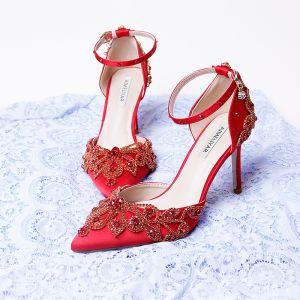 Charmig Röd Brudskor 2020 Satin Ankelband Rhinestone 9 cm Stilettklackar Spetsiga Bröllop Högklackade