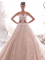 Luxury / Gorgeous Champagne Wedding Dresses 2019 A-Line / Princess Pleated Strapless Beading Lace Flower Sleeveless Backless Chapel Train