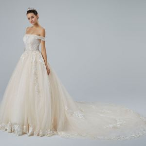 Elegant Champagne Wedding Dresses 2019 A-Line / Princess Off-The-Shoulder Short Sleeve Backless Appliques Lace Pearl Beading Glitter Tulle Cathedral Train Ruffle