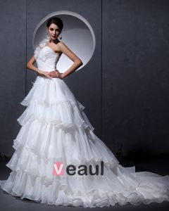 Plisami Przedzy Kwiat Satyna Recznie Ramie Rekawow Jeden Pociag Kaplica-line Suknie Ślubne Sukienki Ślubne Princessa
