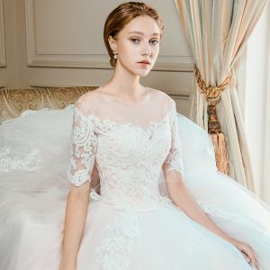 Elegant Champagne Wedding Dresses 2018 Ball Gown Lace Flower Scoop Neck Short Sleeve Cathedral Train Wedding