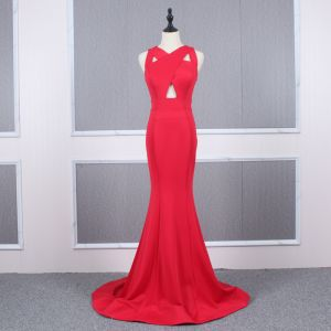 Affordable Red Evening Dresses  2020 Trumpet / Mermaid V-Neck Sleeveless Sweep Train Ruffle Backless Formal Dresses