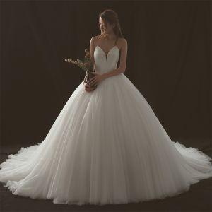Schlicht Ivory / Creme Brautkleider / Hochzeitskleider 2018 Ballkleid Herz-Ausschnitt Ärmellos Rückenfreies Kathedrale Schleppe Rüschen