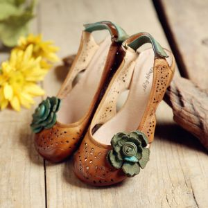 Amazing / Unique 2017 5 cm 3 cm Brown Green Beach Casual Outdoor / Garden Leather Summer Pierced Low Heels / Kitten Heels Sandals Womens Sandals