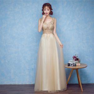 Schöne Gold Abendkleider 2017 A Linie V-Ausschnitt Spitze Applikationen Rückenfreies Abend Festliche Kleider