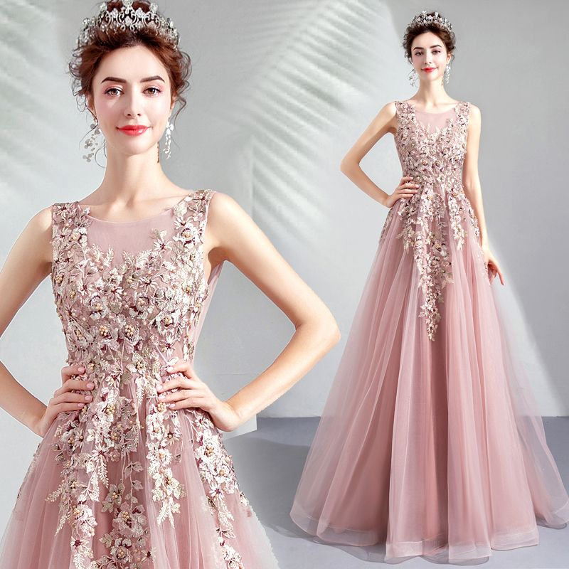 Mooie / Prachtige Parel Roze Galajurken 2019 A lijn Ronde Hals Geborduurde Parel Rhinestone Mouwloos Ruglooze Lange Gelegenheid Jurken