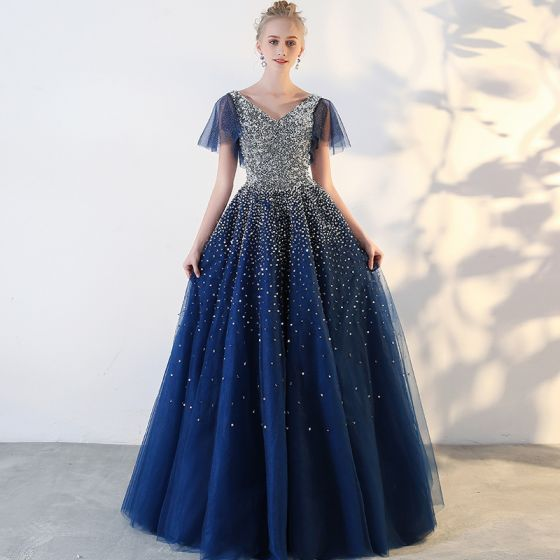 Sparkly Royal Blue Prom Dresses 2018 Tulle V-Neck Sequins Glitter ...
