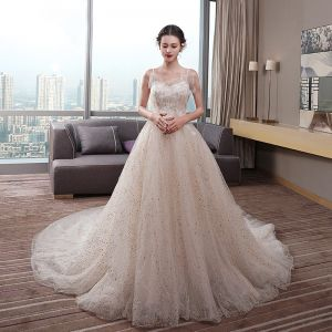Chic / Beautiful Champagne Wedding Dresses 2019 Empire Spaghetti Straps Sleeveless Backless Appliques Lace Beading Pearl Glitter Tulle Chapel Train Ruffle