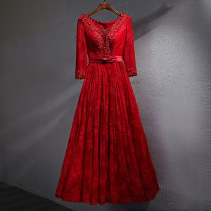 Chic / Beautiful Red Evening Dresses  2017 A-Line / Princess Lace Flower Pearl Crystal Bow V-Neck Backless Long Sleeve Ankle Length Formal Dresses