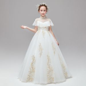 Vintage / Retro Ivory Flower Girl Dresses 2020 Ball Gown High Neck Short Sleeve Appliques Lace Sequins Floor-Length / Long Ruffle