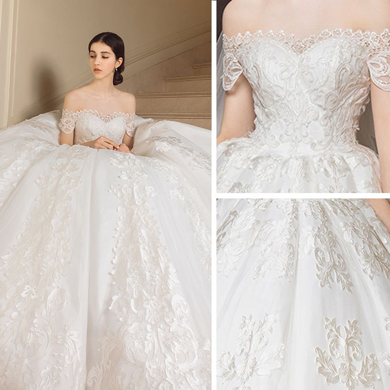 Chic / Beautiful Ivory Wedding Dresses 2018 Ball Gown Lace Appliques Embroidered Off-The-Shoulder Backless Short Sleeve Chapel Train Wedding