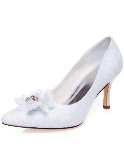 eb8ff9f0 Elegant Hvid Brudesko Blonder Stiletter Pumps Satin Bryllupssko Med Blomst