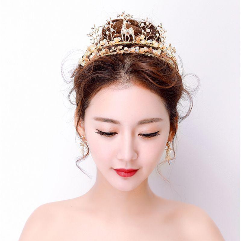 Elegant 2017 Gold Silver Rhinestone Metal Tiara Bridal Jewelry