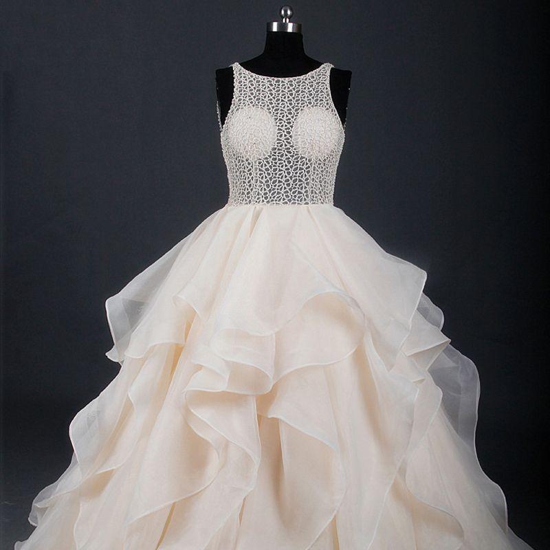 Edles Luxus / Herrlich Champagner Hof-Schleppe Hochzeit 2018 X-Riemen U-Ausschnitt Tülle Geschwollenes Rückenfreies Perlenstickerei Durchbohrt Ballkleid Brautkleider
