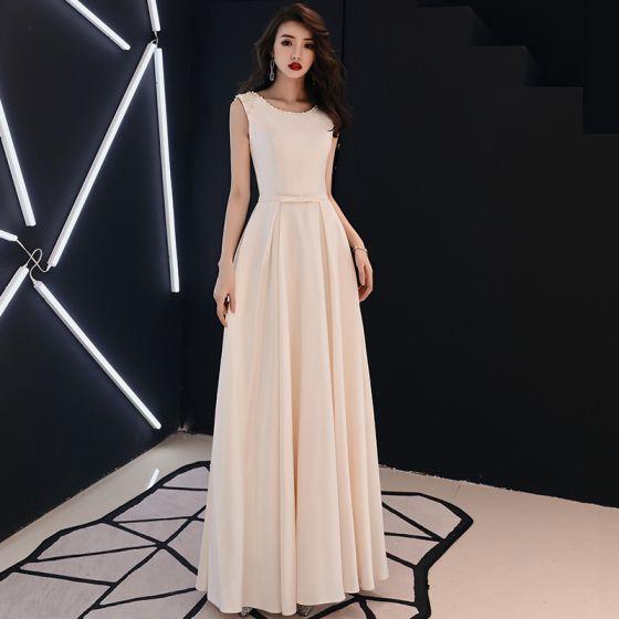 Elegant Solid Color Champagne Evening Dresses 2019 A Line Princess Scoop Neck Pearl Rhinestone Sleeveless Floor Length Long Formal Dresses