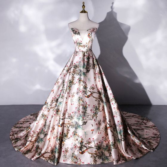 Fancy Multi-Colors Printing Satin Prom Dresses 2021 A-Line / Princess Strapless Sleeveless Backless Cathedral Train Formal Dresses