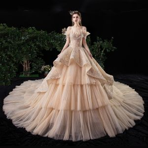 Luxury / Gorgeous Champagne Wedding Dresses 2020 Ball Gown Off-The-Shoulder Short Sleeve Backless Glitter Tulle Appliques Lace Beading Royal Train Cascading Ruffles