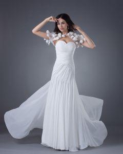 Mousseline De Soie Fleurs Sweetheart Longueur Des Robes De Mariée De La Gaine