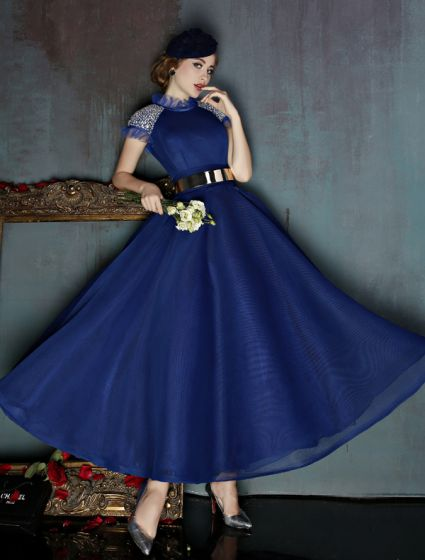 Vintage High Neck Royal Blue Tulle Prom Dress With Metal Sash