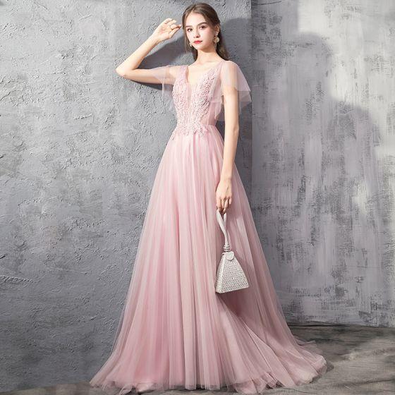 Eleganckie Różowy Perłowy Sukienki Wieczorowe 2019 Princessa Głęboki V-Szyja Kótkie Rękawy Aplikacje Z Koronki Frezowanie Trenem Sweep Wzburzyć Bez Pleców Sukienki Wizytowe