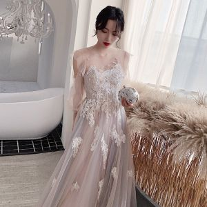 Fashion Blushing Pink Evening Dresses  2020 A-Line / Princess Scoop Neck Beading Lace Flower Long Sleeve Backless Floor-Length / Long Formal Dresses