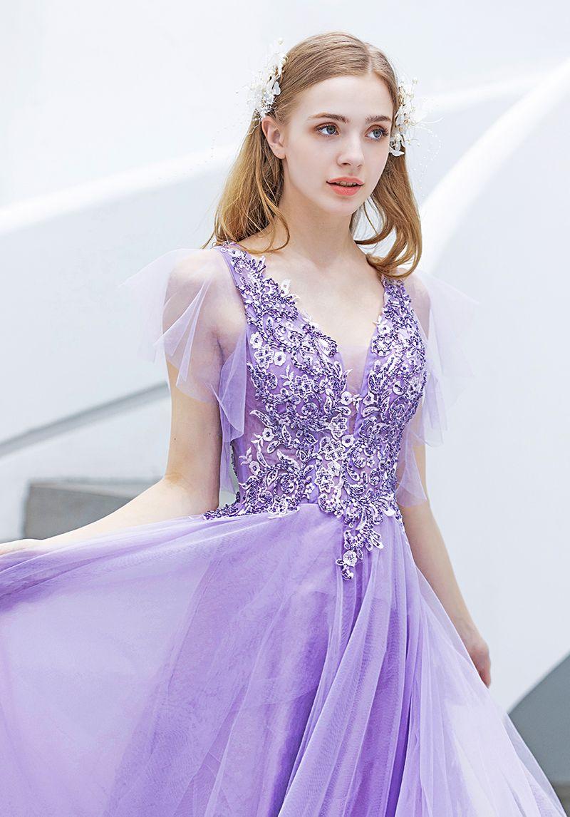 Elegant Lavender Evening Dresses  2019 A-Line / Princess V-Neck Beading Crystal Lace Flower Short Sleeve Backless Floor-Length / Long Formal Dresses