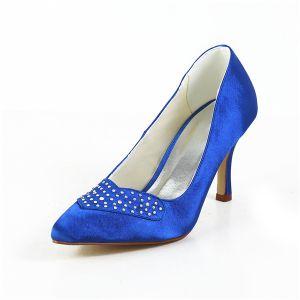 Eenvoudige Blauwe Formele Schoenen Satijnen Stiletto Pumps Met Strass