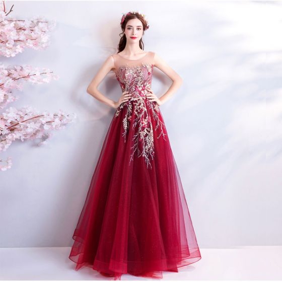 Modern / Fashion Red Evening Dresses  2018 A-Line / Princess Tulle U-Neck Appliques Backless Beading Sequins Formal Dresses