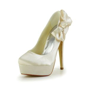 Simple Bridal Shoes Stilettos Platform Pumps With Bowknot