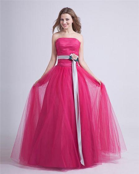 Romántico Vestido De Bola Vestidos De Gala Faja Strapless De Tul Personalizados