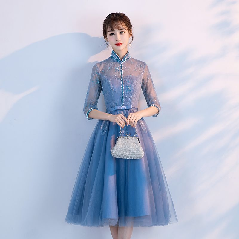 Chic / Beautiful Ocean Blue Prom Dresses 2017 A-Line / Princess Beading Lace Sequins Bow High Neck 1/2 Sleeves Short Formal Dresses