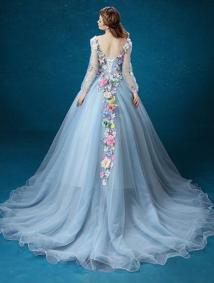Fée De Fleur Robe Manches Longues 2016 Sans Dossier À La Main Des Fleurs Colorées Longue Robe De Bal