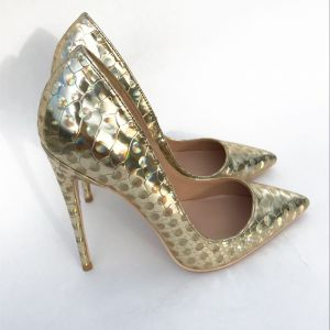 Chic / Beautiful Gold Laser Casual Pumps 2019 Leather 12 cm Stiletto Heels Pointed Toe Pumps