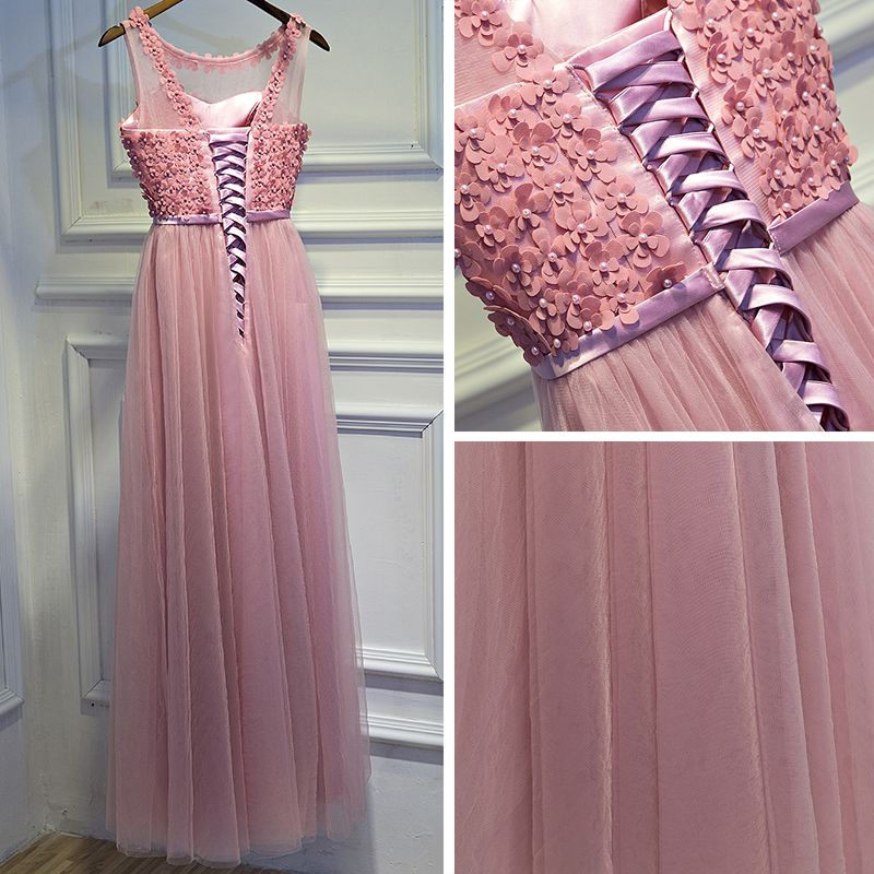Lovely Watermelon Formal Dresses 2017 A-Line / Princess Appliques Bow Pearl Backless Sleeveless Scoop Neck Ankle Length Evening Dresses