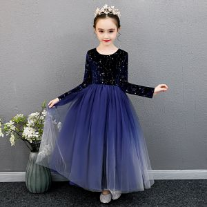 Asequible Azul Real Cumpleaños Vestidos para niñas 2020 Ball Gown Scoop Escote Manga Larga Glitter Estrella Largos Ruffle