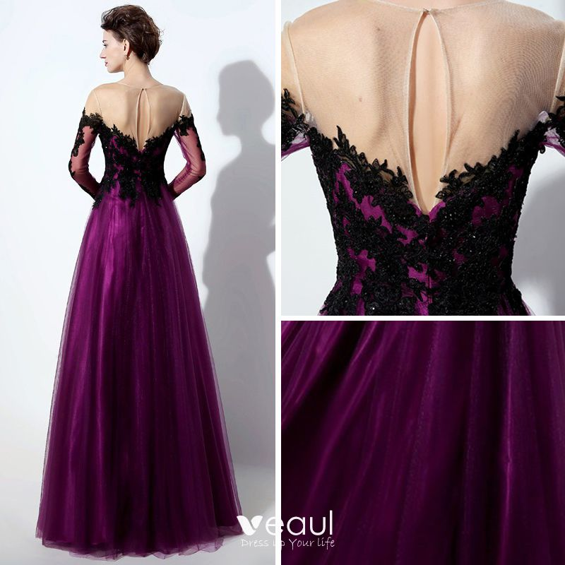 Elegant Purple See-through Prom Dresses 2019 A-Line / Princess Scoop Neck Long Sleeve Appliques Lace Floor-Length / Long Ruffle Backless Formal Dresses