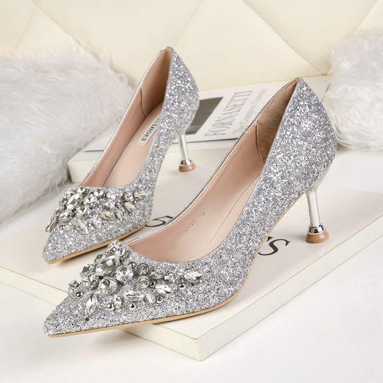 Glitter Zilveren Bruidsschoenen 2019 Rhinestone Pailletten 6 cm Naaldhakken / Stiletto Spitse Neus Huwelijk Pumps