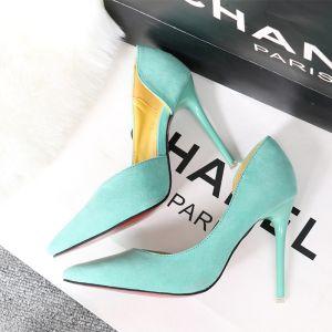 Abordable Vert Citron Désinvolte Chaussures Femmes 2020 11 cm Talons Aiguilles À Bout Pointu Talons Hauts