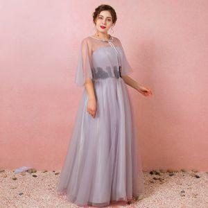 Klassisch Elegante Grau Übergröße Abendkleider 2018 Schnüren Tülle Applikationen Ärmellos Rückenfreies Winter Abend Festliche Kleider