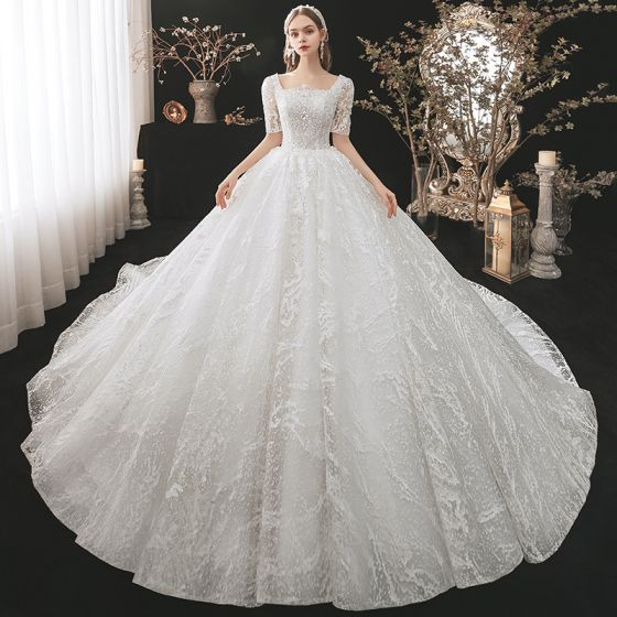 Vintage / Retro White Bridal Wedding Dresses 2021 Ball Gown Square Neckline 1/2 Sleeves Backless Appliques Lace Beading Cathedral Train Ruffle