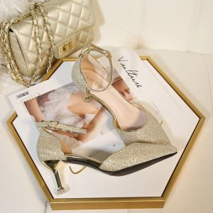 Fashion Gold Wedding Shoes 2020 Sequins Ankle Strap 6 cm Stiletto Heels Pointed Toe Wedding Heels