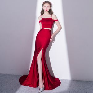 Sexy Burgundy 2 Piece Evening Dresses  2018 Trumpet / Mermaid Split Front Spaghetti Straps Backless Short Sleeve Sweep Train Formal Dresses