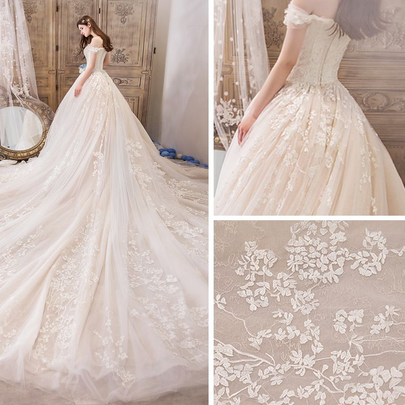 Best Champagne Wedding Dresses 2019 A-Line / Princess Off-The-Shoulder Short Sleeve Backless Appliques Lace Beading Royal Train Ruffle