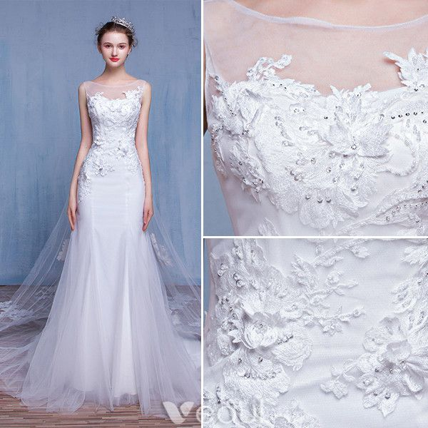 Glamorous Mermaid Wedding Dresses 2017 Square Neckline Applique Lace Beading Rhinestones Bridal Gowns With 100 Cm Train
