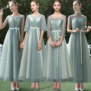 Betaalbare Saliegroen Bruidsmeisjes Jurken 2020 A lijn Gordel Enkellange Ruche Ruglooze Jurken Voor Bruiloft