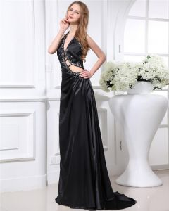 Elegant Charmeuse Beaded Pleated Halter Floor Length Women Prom Dress