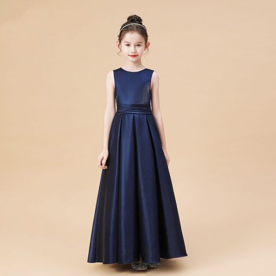 Modest / Simple Navy Blue Satin Flower Girl Dresses 2020 A-Line / Princess Scoop Neck Sleeveless Bow Sash Floor-Length / Long Ruffle
